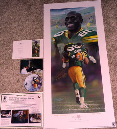 DONALD DRIVER 80 AUTOGRAPHED DRIVEN GREEN BAY PACKERS LITHOGRAPH ANDY GORALSKI SIGNED with DVD COA AUTHENTICATION LIMITED EDITION #4 of only 50 AP Artist Andy Goralski DVD & COA Authentication with Signing photo