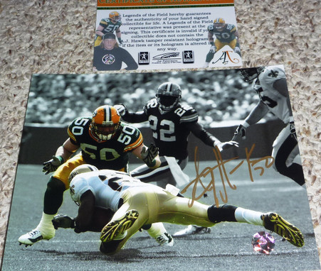 GB GREEN BAY PACKERS AJ HAWK 50 Signed Rookie 8x10 PHOTO AJ50 COA vs Reggie Bush