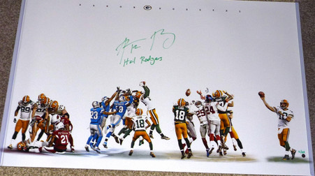 """Aaron Rodgers Signed Hail Mary Collage 20x32 Photo w/ """"Hail Rodgers"""" Insc (Signed in Green) LE of 50"""