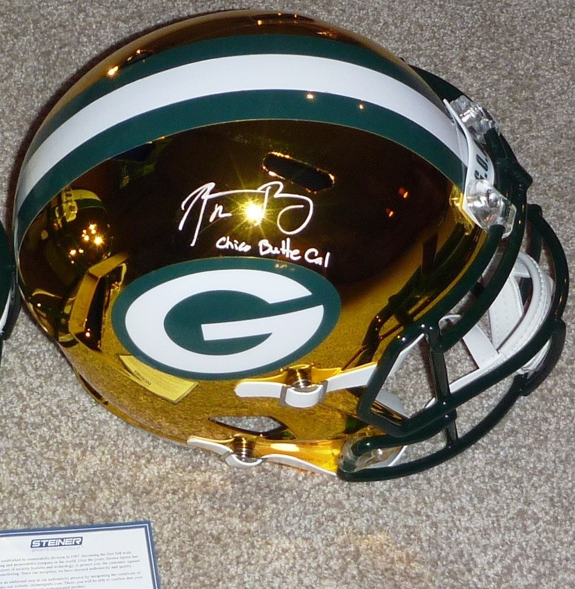 Aaron Rodgers Signed Green Bay Packers Full Size Replica Blaze Helmet With Chico Butte Cal Inscription Limited Edition Of Only 12