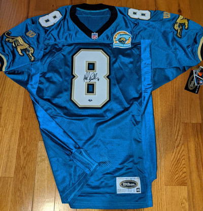 Mark Brunell 8 Signed Authentic Jacksonville Jaguars Authentic Inaugural Season Patch 1995 Wilson jersey with Legends of the Field Hologram & COA Authentication