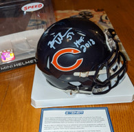 Brian Urlacher Signed HOF 2018 inscribed Chicago Bears Speed Mini Helmet Steiner