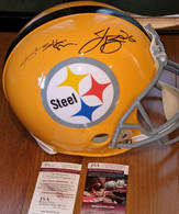 Antonio Brown & Le'veon Bell Dual Signed Pittsburgh Steelers Gold Throwback Authentic Full Size helmet! Includes Dual JSA  numbered Authentication!