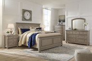 Lettner Light Gray 8 Pc. Dresser, Mirror, Chest, King Panel Bed & 2 Nightstands
