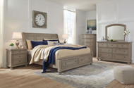 Lettner Light Gray 8 Pc. Dresser, Mirror, Chest, King Sleigh Bed & 2 Nightstands