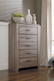 Zelen Warm Gray Five Drawer Chest