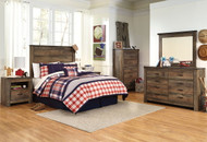Trinell Brown Dresser, Mirror, Chest, Full Panel Headboard Bed & 2 Nightstands