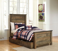 Trinell Brown Twin Panel Bed with Trundle Storage Box