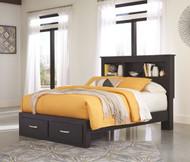 Reylow Dark Brown Queen Bookcase Storage Bed
