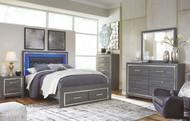 Lodanna Gray 5 Pc. Dresser, Mirror & Queen Panel Bed with Storage