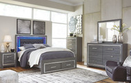 Lodanna Gray 7 Pc. Dresser, Mirror, Queen Panel Bed with Storage & 2 Nightstands