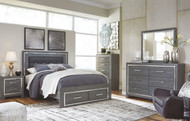 Lodanna Gray 8 Pc. Dresser, Mirror, Chest, Queen Panel Bed with Storage & 2 Nightstands