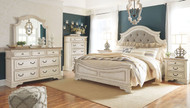 Realyn Two-tone 5 Pc. Dresser, Mirror & Queen Upholstered Panel Bed