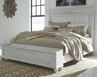 Kanwyn Whitewash California King Panel Bed with Storage