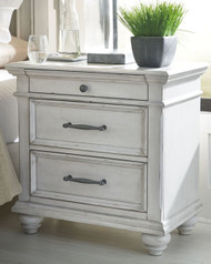 Kanwyn Whitewash Three Drawer Night Stand