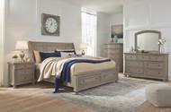 Lettner Light Gray 5 Pc. Dresser, Mirror & King Sleigh Bed with Storage