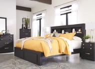Reylow Dark Brown 7 Pc. Dresser, Mirror, Chest & Queen Bookcase Storage Bed