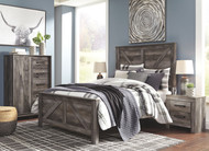 Wynnlow Gray 5 Pc. Queen Crossbuck Panel Bed & 2 Nightstands