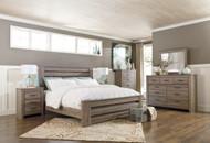 Zelen Warm Gray 7 Pc. Dresser, Mirror, King Poster Bed & 2 Nightstands