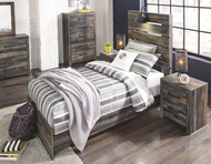 Drystan Multi Dresser, Mirror, Chest, Twin Panel Bed & 2 Nightstands