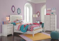 Paxberry Whitewash Full Panel Bed, Dressing Chest & Nightstand