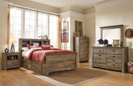 Trinell Brown 8 Pc. Dresser, Mirror, Full Bookcase Bed with Under Bed Storage & 2 Nightstands