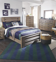 Zelen Warm Gray 6 Pc. Dresser, Mirror, Chest & Full Panel Bed