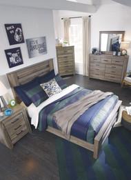 Zelen Warm Gray 8 Pc. Dresser, Mirror, Chest, Full Panel Bed & 2 Nightstands