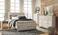 Bellaby Whitewash 8 Pc. Dresser, Mirror, Chest, Queen Panel Storage Bed & Nightstand