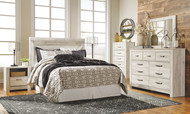 Bellaby Whitewash 6 Pc. Dresser, Mirror, Chest, Queen Panel Headboard & 2 Nightstands