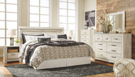 Bellaby Whitewash 7 Pc. Dresser, Mirror, Chest, King Panel Headboard with Bolt on Bed Frame & 2 Nightstands