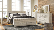Bellaby Whitewash 8 Pc. Dresser, Mirror, King Panel Storage Bed & 2 Nightstands