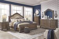 Charmond Brown 7 Pc. Dresser, Mirror, Queen Upholstered Sleigh Bed & 2 Nightstands