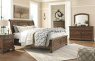 Flynnter Medium Brown 6 Pc. Dresser, Mirror, California King Sleigh Bed with Storage & Nightstand