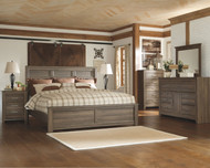 Juararo Dark Brown 7 Pc. Dresser, Mirror, California King Panel Bed & 2 Nightstands