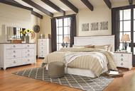 Willowton Whitewash 4 Pc. Dresser, Mirror, Chest & King Panel Headboard