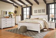 Willowton Whitewash 6 Pc. Dresser, Mirror, Chest & King Panel Bed
