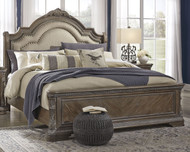 Charmond Brown Queen Upholstered Sleigh Bed