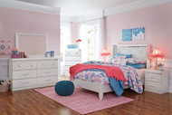 Dreamur Champagne Dresser, Mirror, Chest, Full Panel Bed & 2 Nightstands