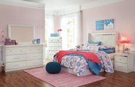 Dreamur Champagne 5 Pc. Dresser, Mirror, Chest & Full Panel Headboard with Bolt on Metal Frame