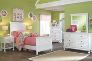Kaslyn White Dresser, Mirror, Twin Panel Bed & 2 Nightstands
