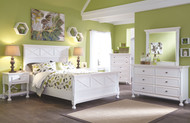 Kaslyn White 7 Pc. Dresser, Mirror, Queen Panel Bed & 2 Nightstands