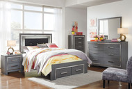 Lodanna Gray 6 Pc. Dresser, Mirror, Full Panel Bed with Storage & Nightstand