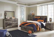 Derekson Multi Gray 9 Pc. Dresser, Mirror, Chest, Full Panel Bed with Storage & 2 Nightstands