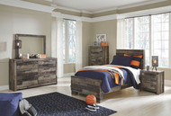Derekson Multi Gray Dresser, Mirror & Twin Panel Bed