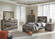 Derekson Multi Gray Dresser, Mirror, Chest & Twin Panel Bed