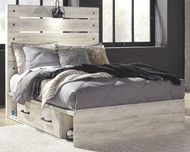 Cambeck Whitewash Full Panel Bed with Side Storage