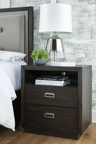 Hyndell Dark Brown Two Drawer Night Stand