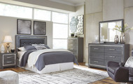 Lodanna Gray 6 Pc. Dresser, Mirror, Chest, Queen Upholstered Panel HDBD with Bolt on Bed Frame & Nightstand