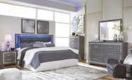 Lodanna Gray 6 Pc. Dresser, Mirror, Chest, King Upholstered Panel HDBD with Bolt on Bed Frame & Nightstand